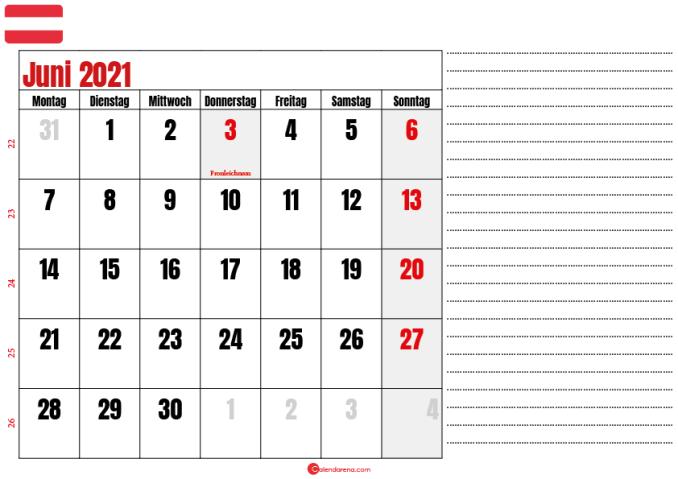 juni kalender 2021 Österreich