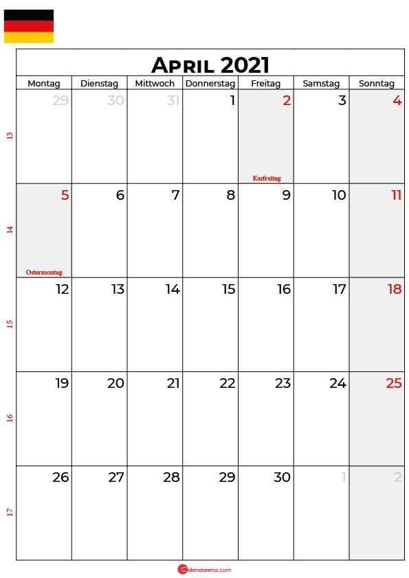 kalender 2021 april Deutschland