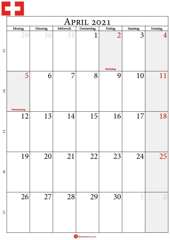 kalender 2021 april Schweiz