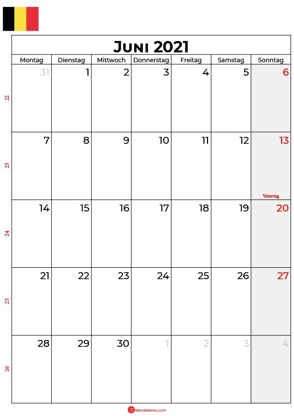 kalender 2021 juni Belgien