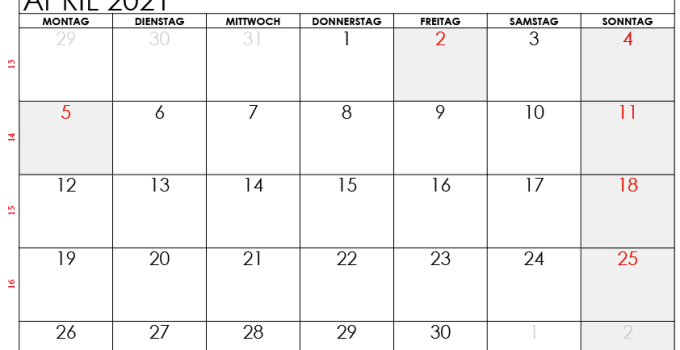 kalender april 2021 Schweiz