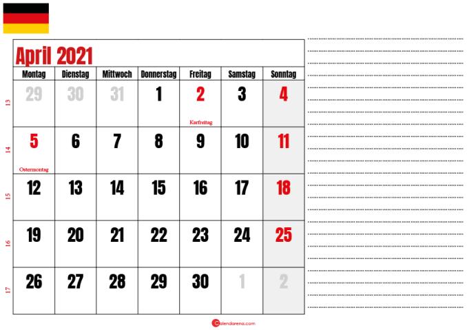kalender april 2021 zum ausdrucken Deutschland