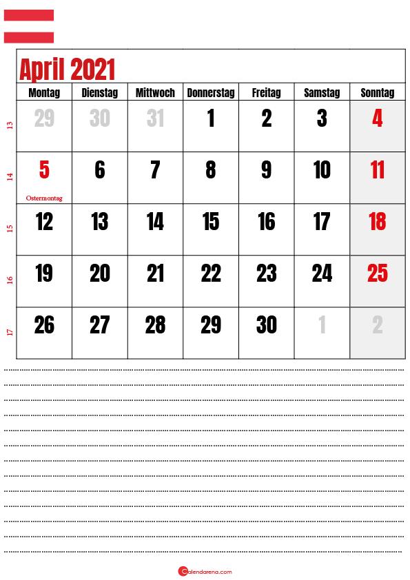 kalender april 2021 zum ausdrucken Österreich