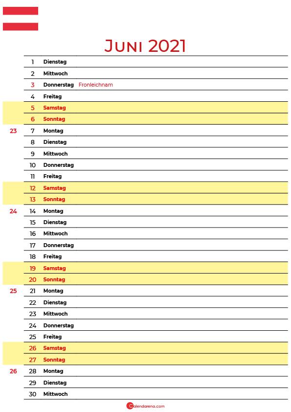 kalender juni 2021 zum ausdrucken Schweiz