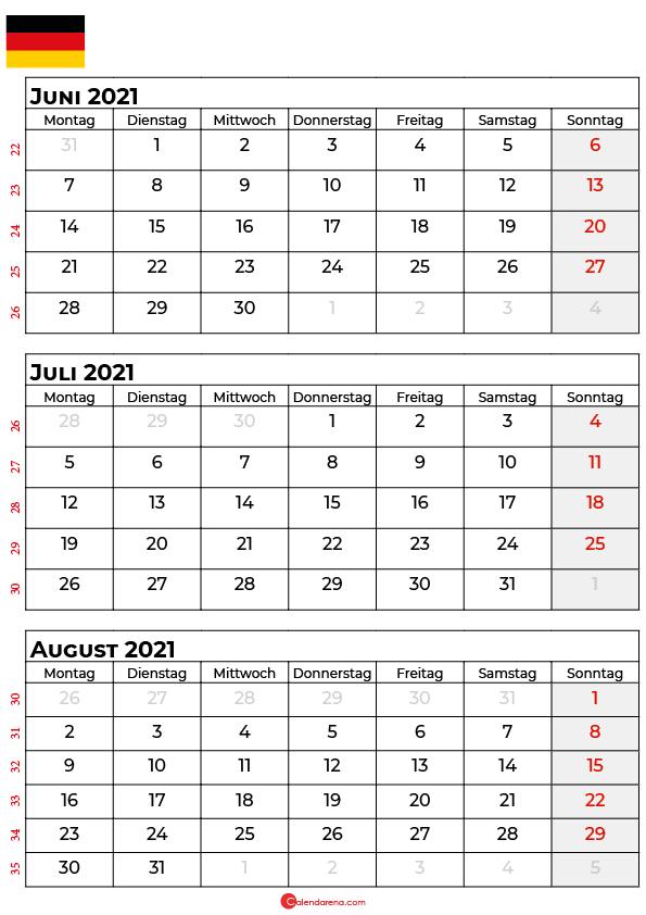 kalender juni juli august 2021 Deutschland