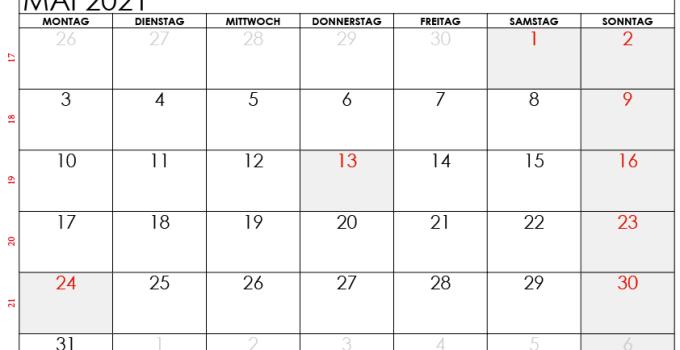 kalender mai 2021 Schweiz