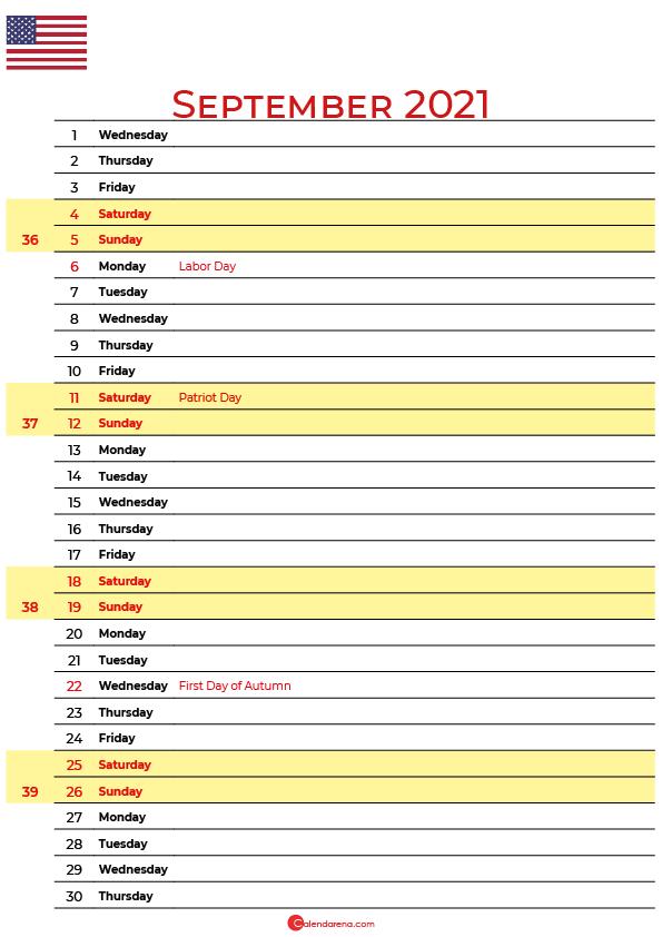 2021 september calendar usa