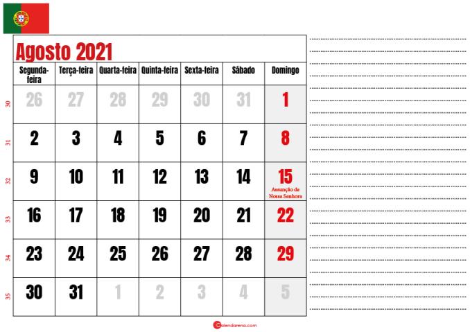 calendario agosto 2021 para imprimir portugal