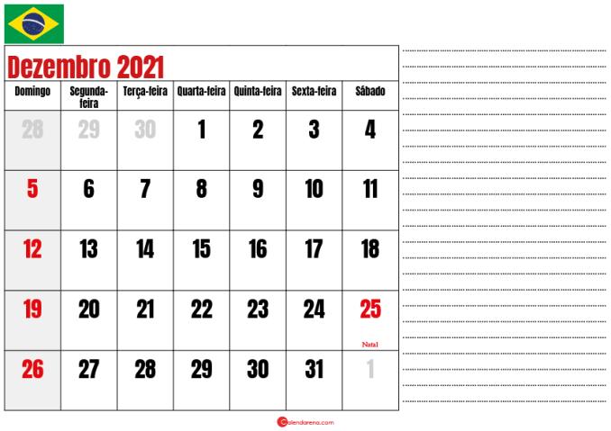 calendario dezembro 2021 para imprimir brasil