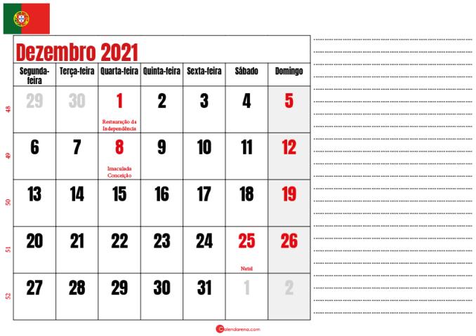 calendario dezembro 2021 para imprimir portugal