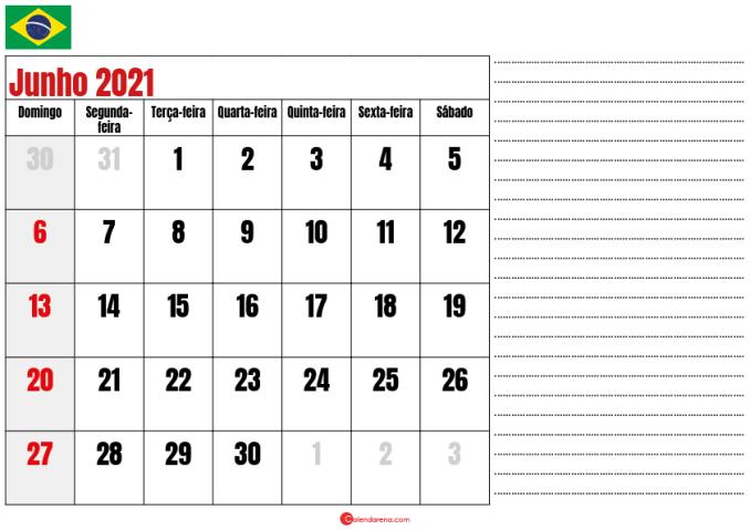 calendario junho 2021 para imprimir brasil