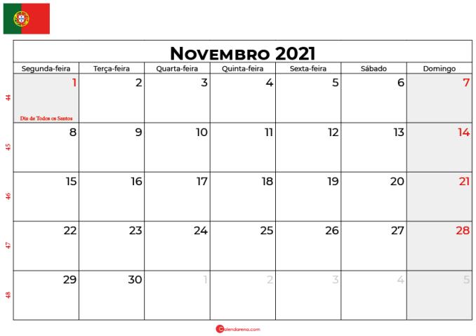 calendário novembro 2021 portugal