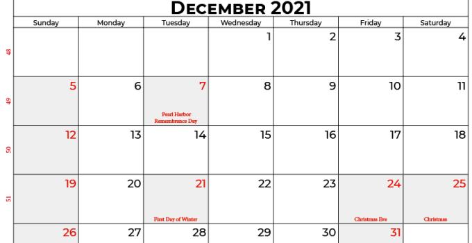 december 2021 calendar usa
