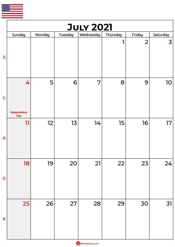 july 2021 calendar with holidays usa