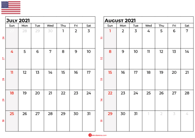 july and august 2021 calendar usa