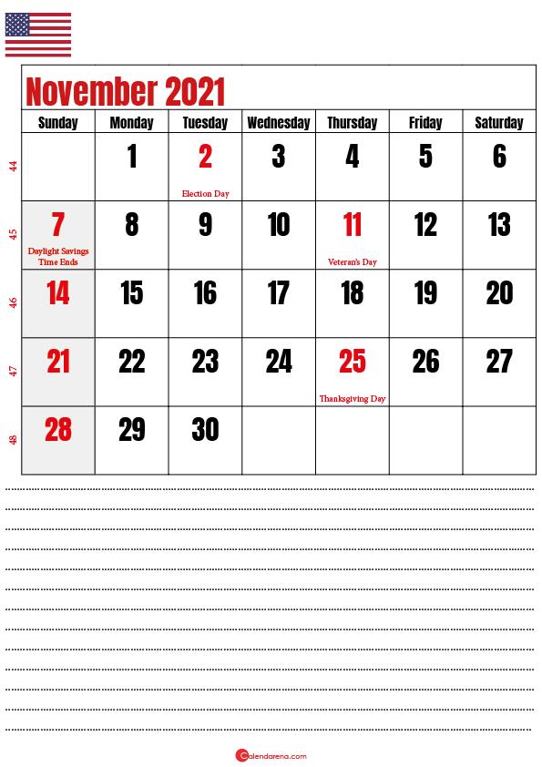 november 2021 calendar printable usa