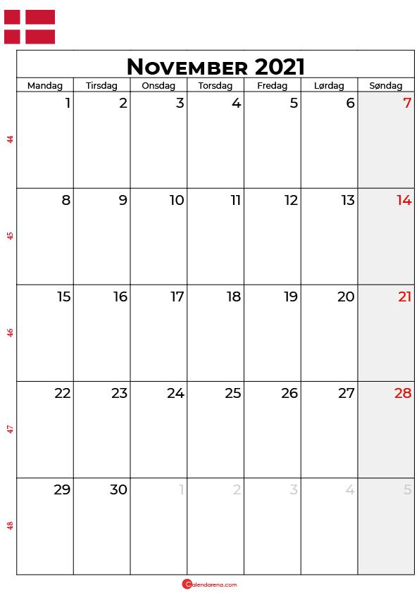 november 2021 kalender