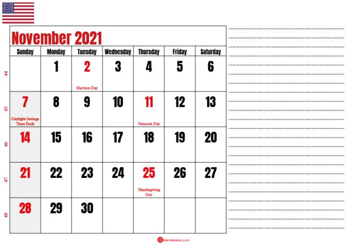 november 2021 printable calendar usa