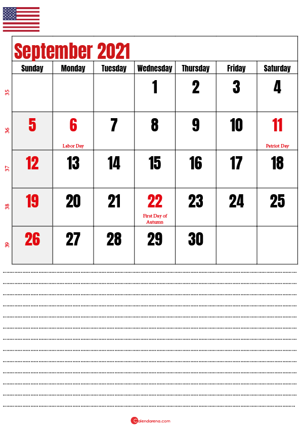 september 2021 calendar printable usa