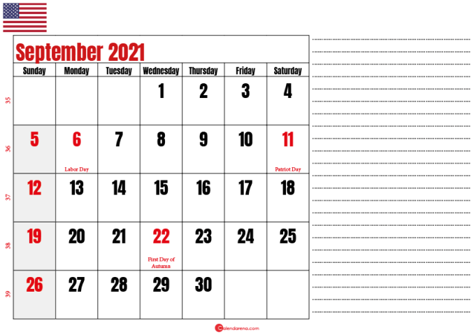 september 2021 printable calendar usa