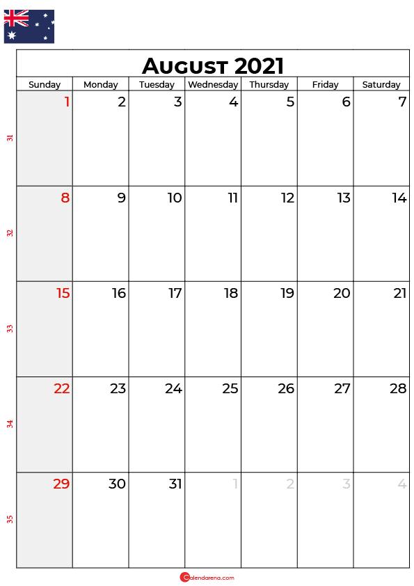 august calendar 2021 au