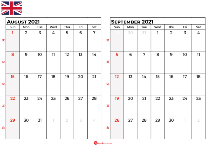 august september 2021 calendar UK