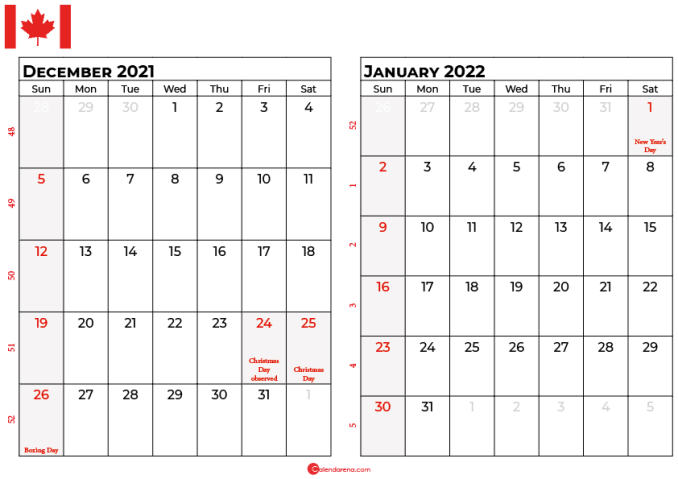 december and january 2022 calendar ca