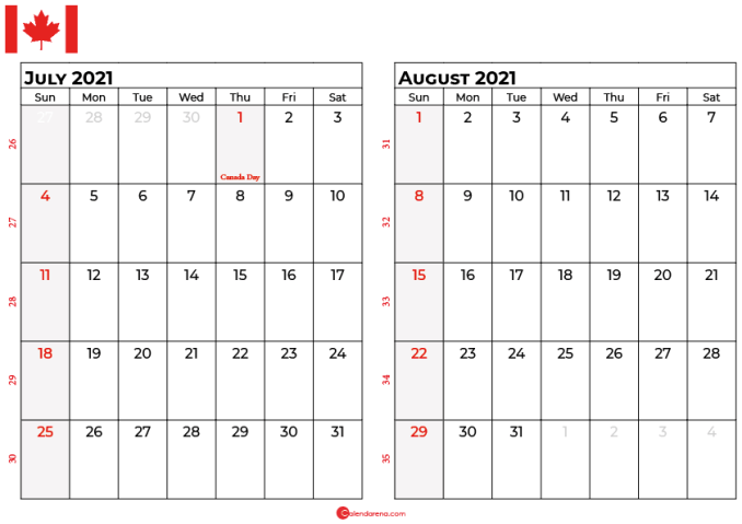 july and august 2021 calendar ca
