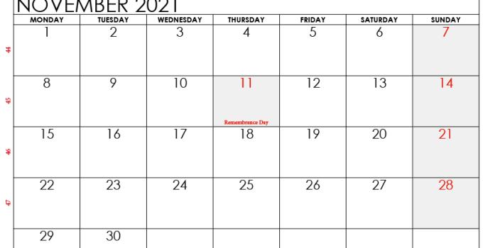 november 2021 calendar ca