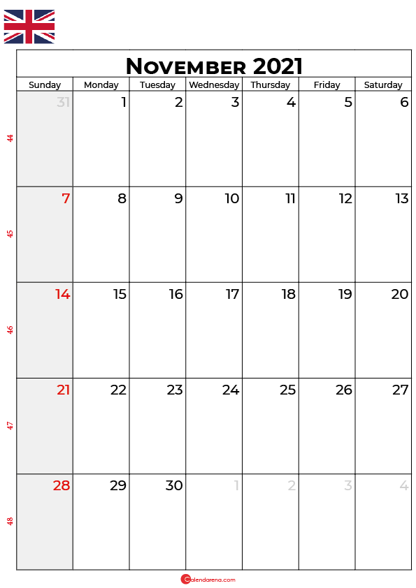 november 2021 calendar uk