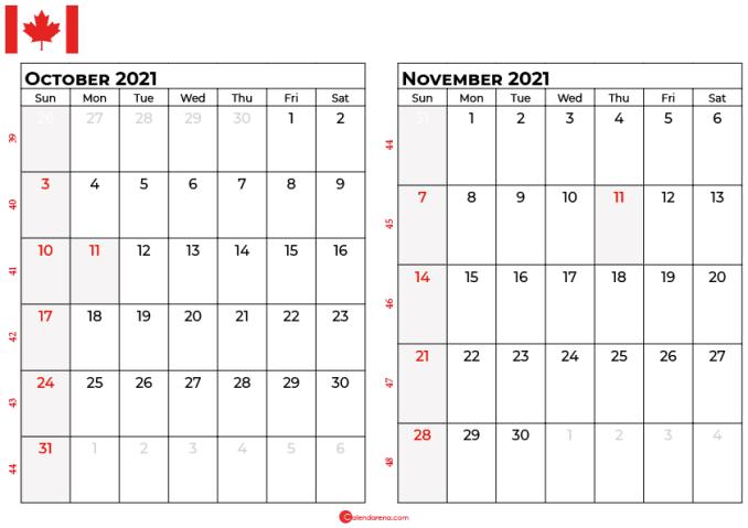 october and november 2021 calendar ca