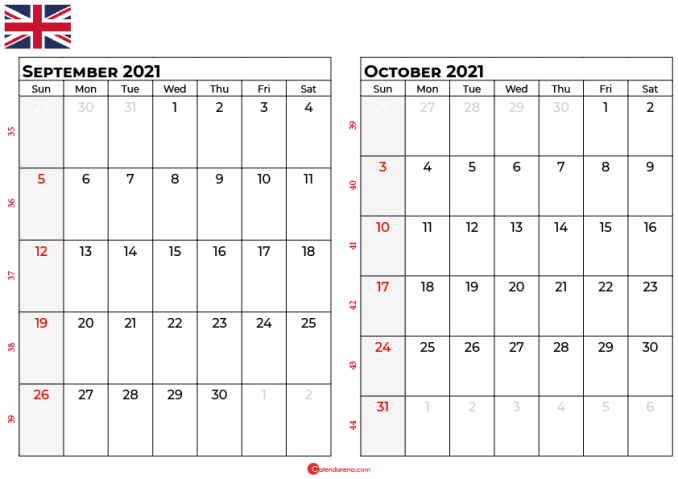 september october 2021 calendar UK