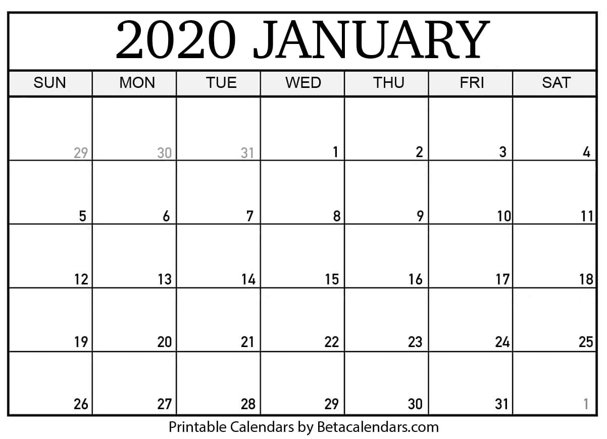 Get January Free Blank Calendar To Write On
