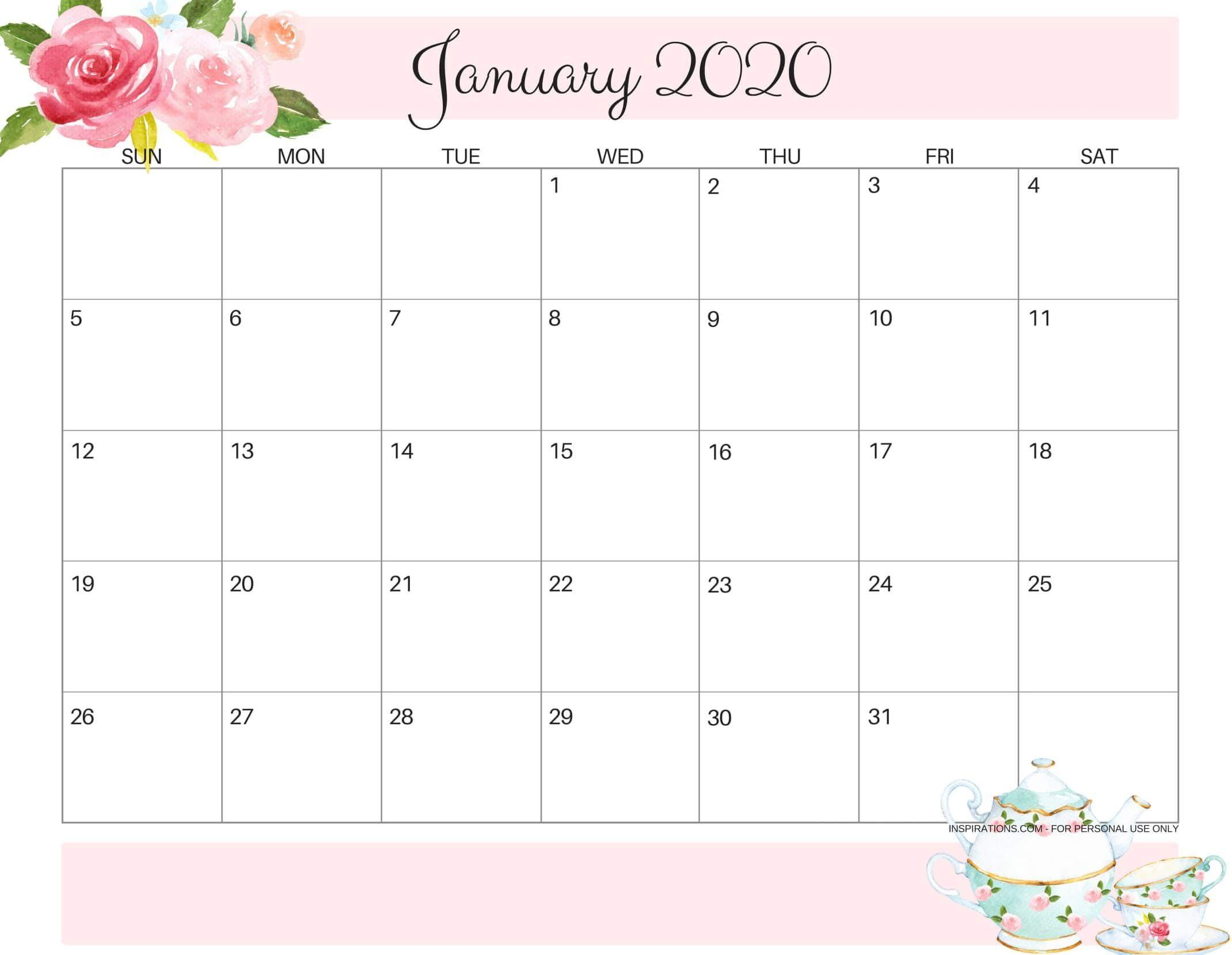 Pick 2020 Calligraphy Calender Printable | Calendar ...
