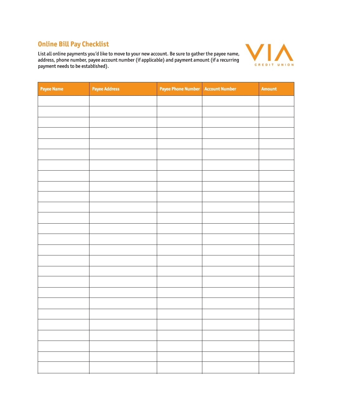 Monthly Bills Due List Printable Free
