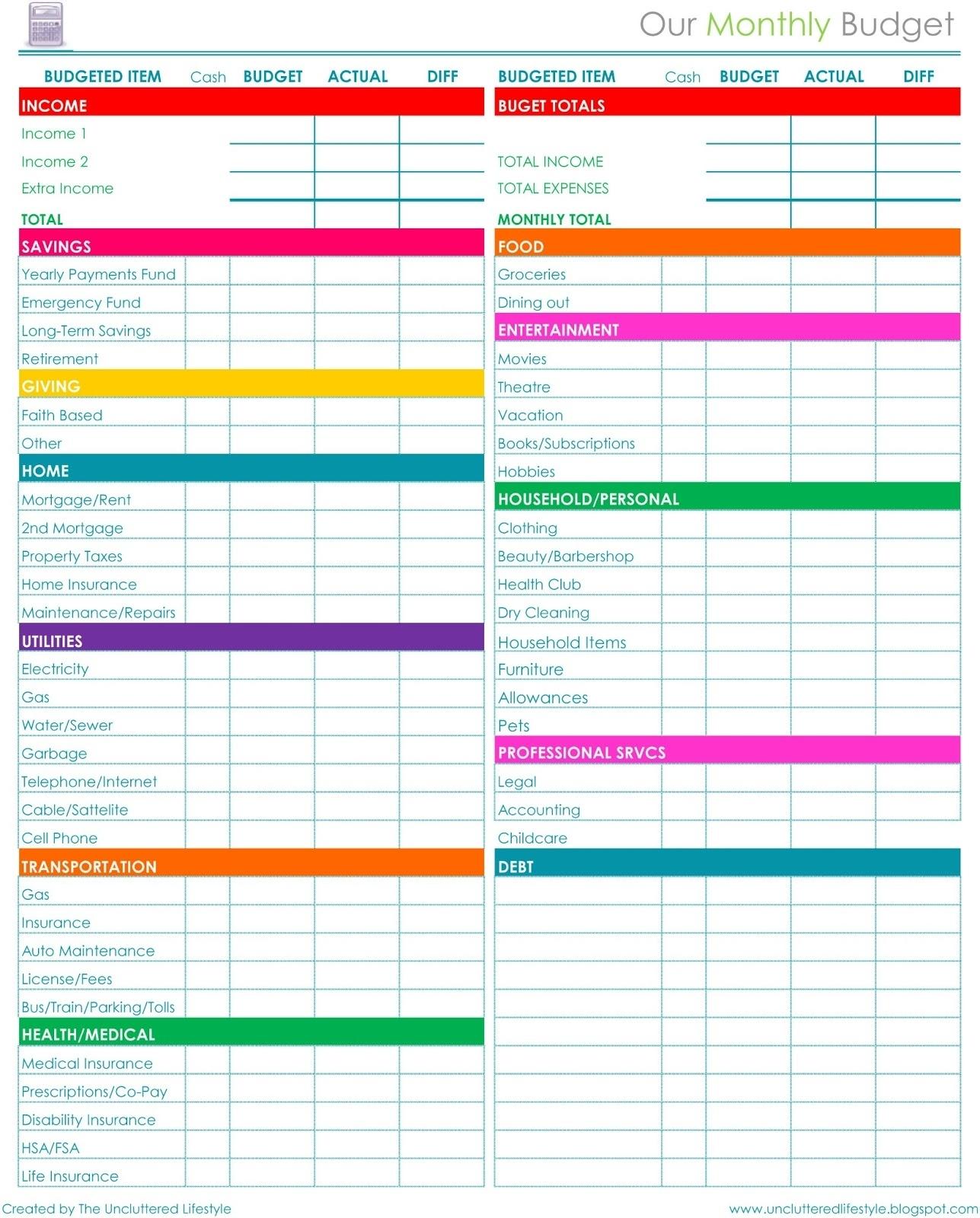 Custom Worksheet Monthly Bill Payment
