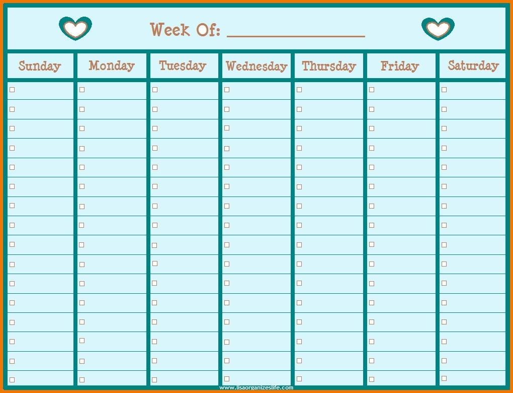 Printable Weekly Schedule With Hours Monday To Friday ...