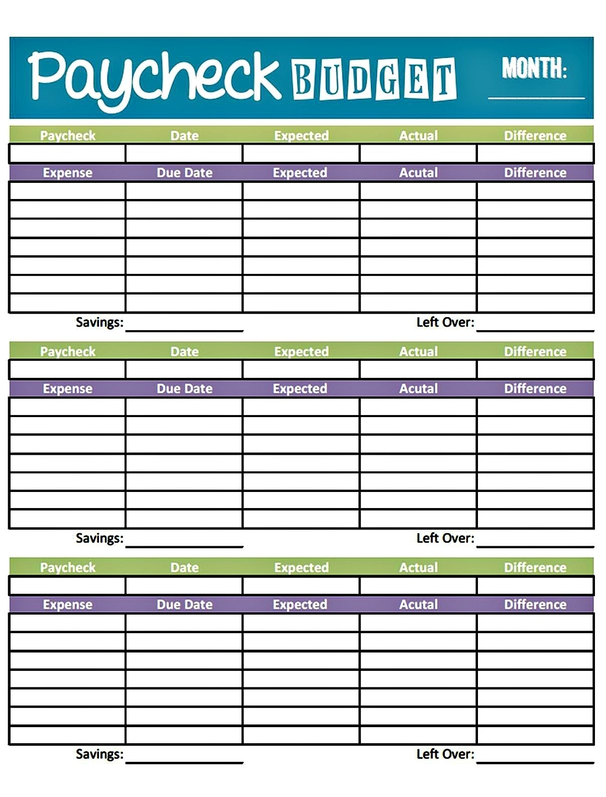 Free Printable Bi Weekly Bill Organizer