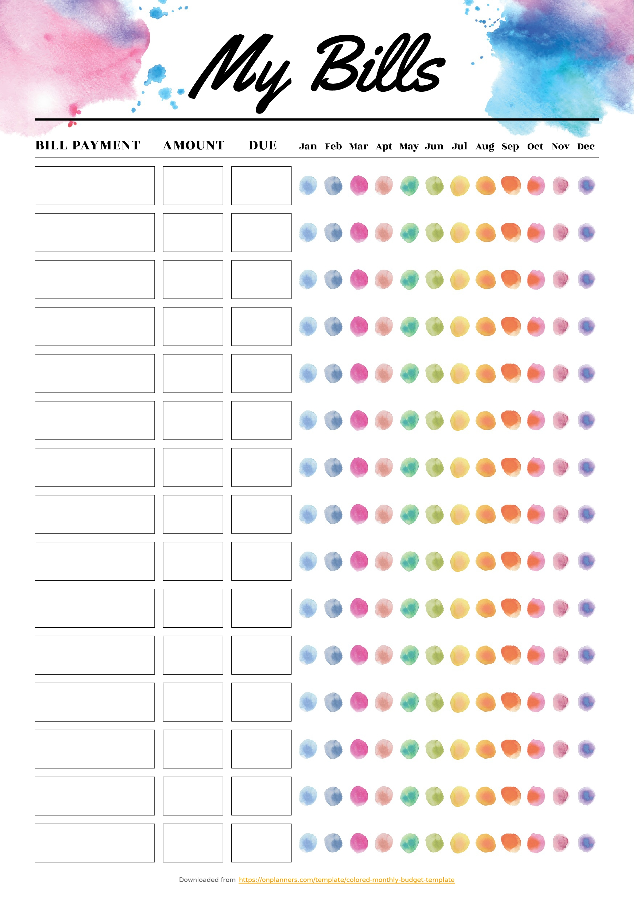 Blank Bill Calendar Printable Colorful