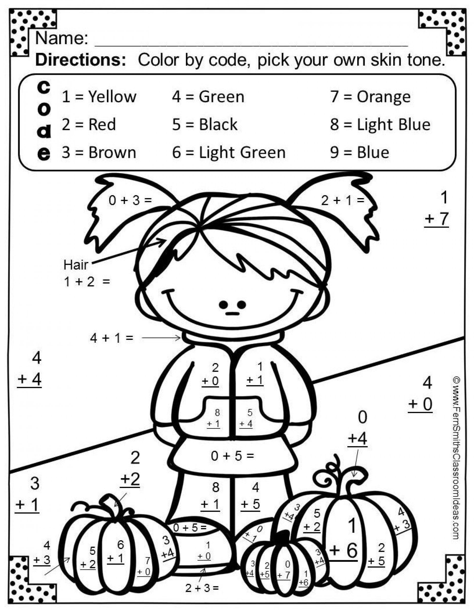 1st Grade Math Coloring Sheets