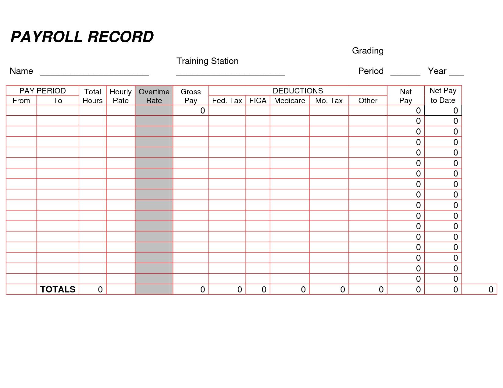 Sample Of Weekly Payroll Format