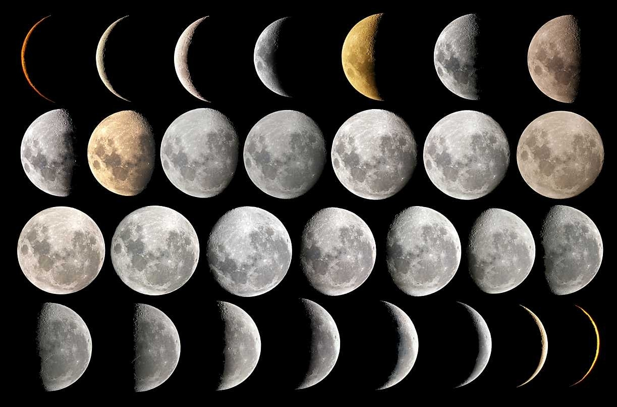 Phases Of The Moon Over The Month