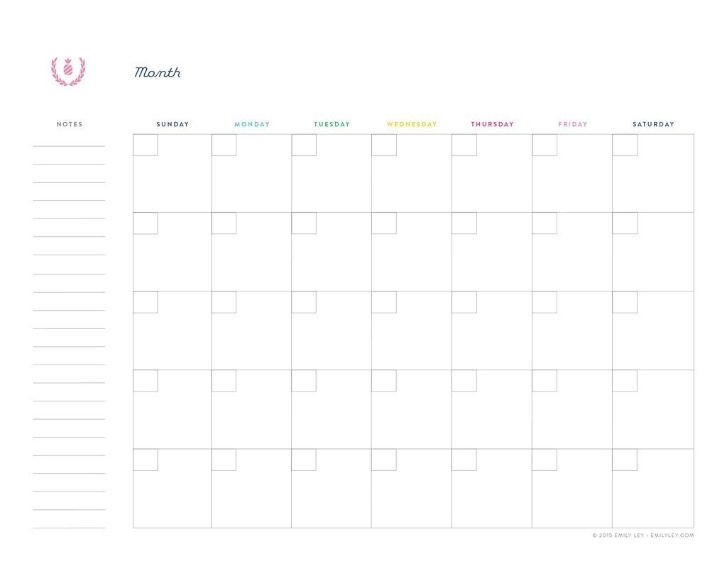 Undated Printable Monthly Calendar Free
