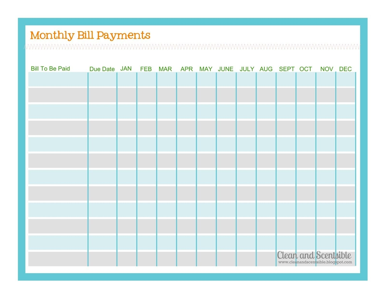Free Monthly Bill Payment Checklist Editable