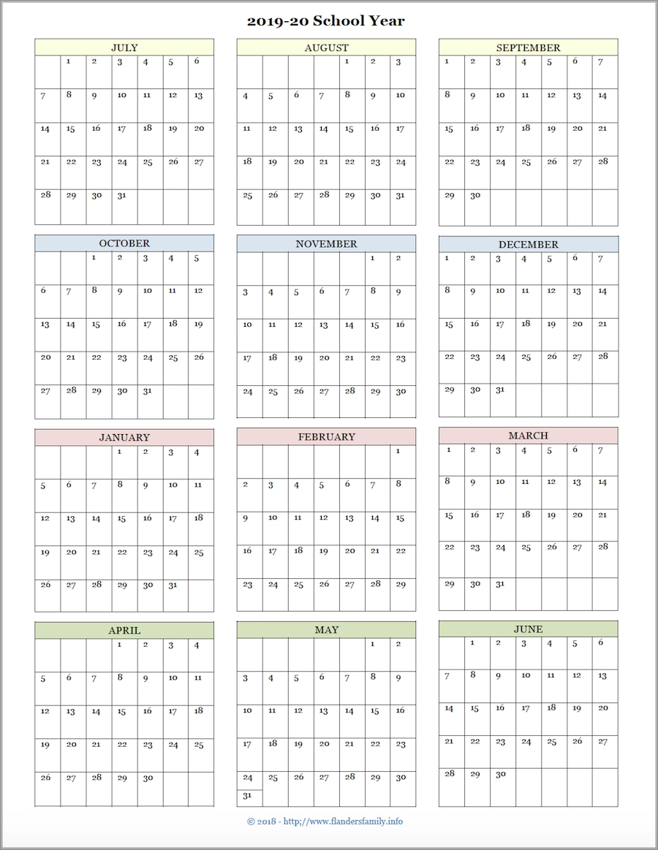 Year At A Glance Calendar 2020 Free Printable - Calendar ...