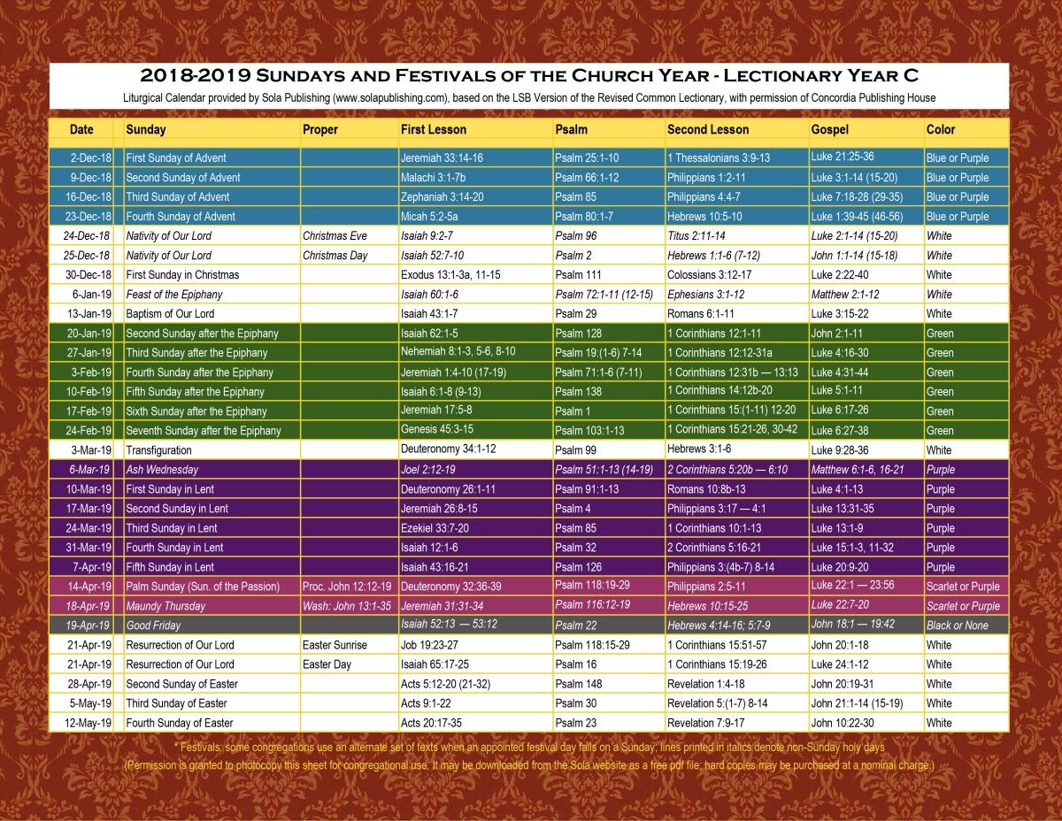 Liturgical Year Lesson Plan