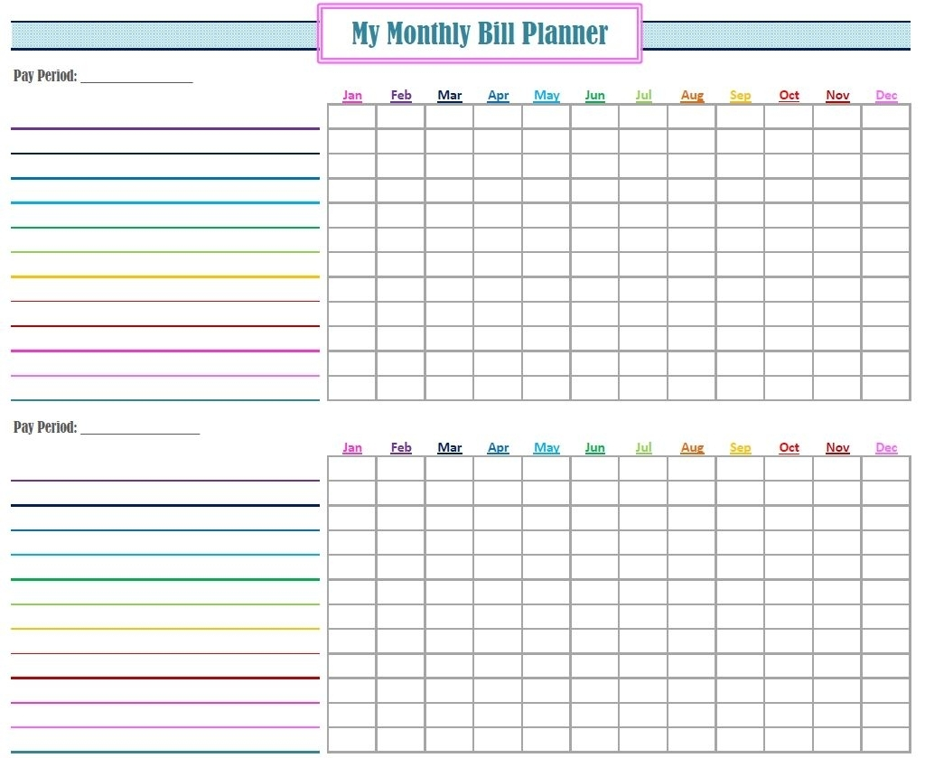 Bill Organizer Free Print Month Year