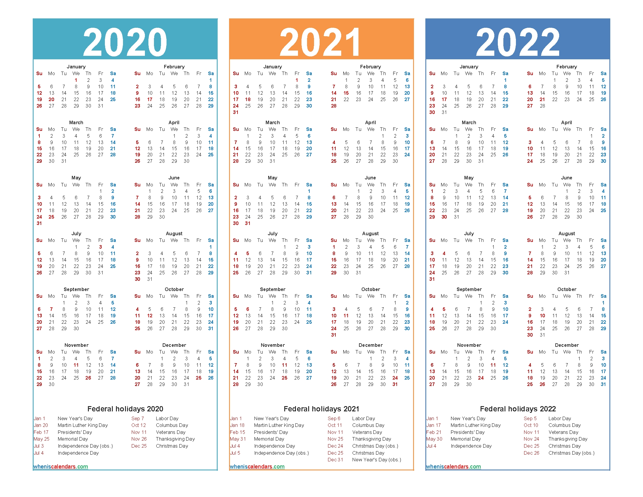 Calendars In 2020 2021 And 2022 - Calendar Inspiration Design