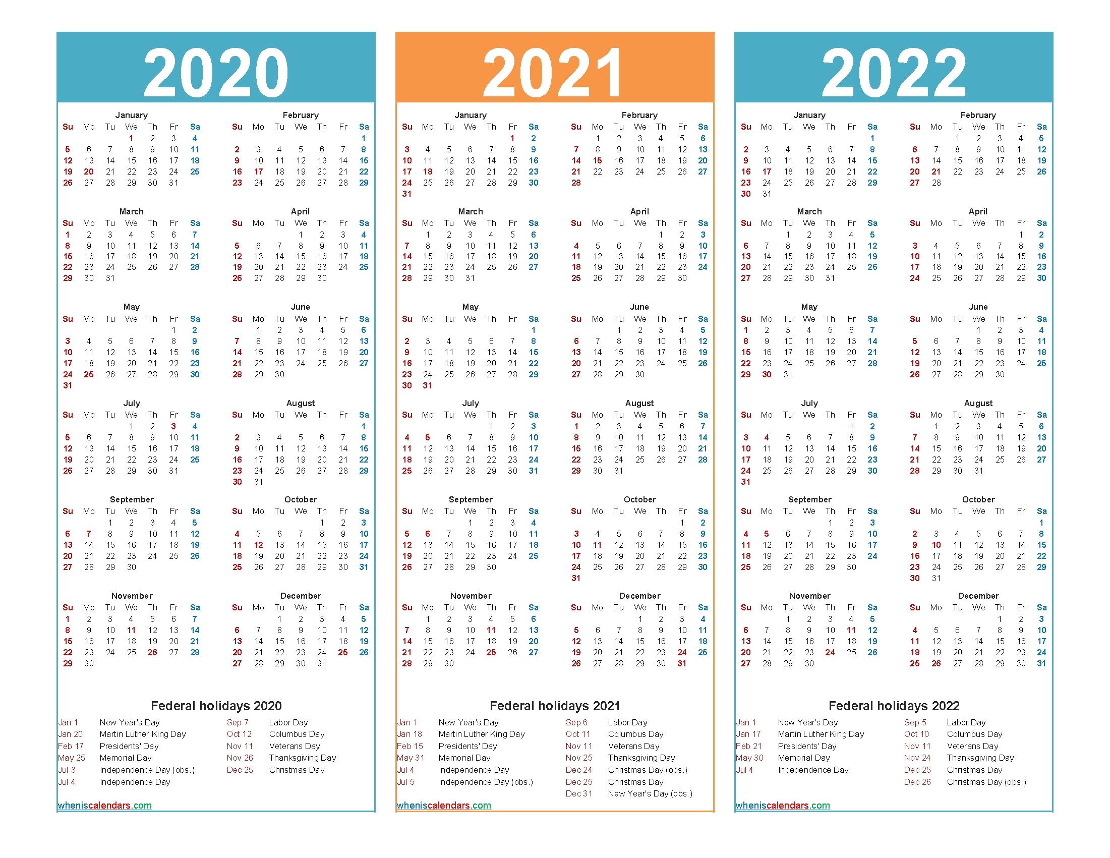 2020 2021 2022 2023 Calendar Printable One Page - Calendar ...