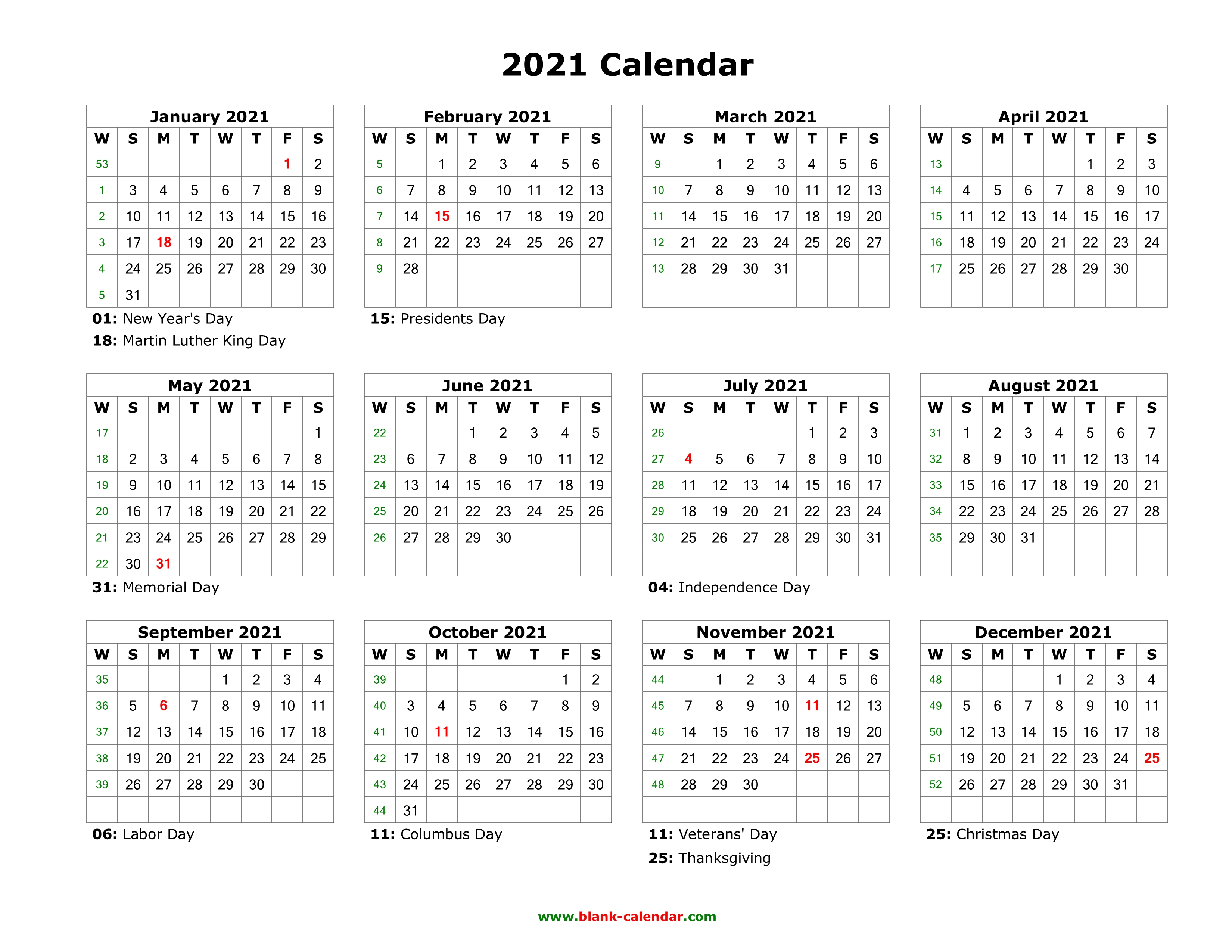 After all, it's just another way to show some excitement for the end of 2020. Free Printable Calendar Year 2021   Calendar Printables ...